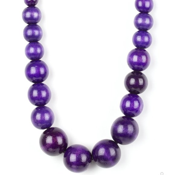 Effortlessly Everglades Purple Wooden Necklace